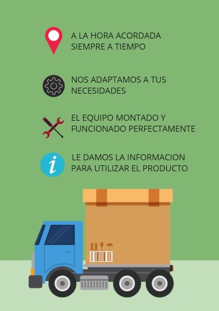 transporte y montaje del producto en alquiler